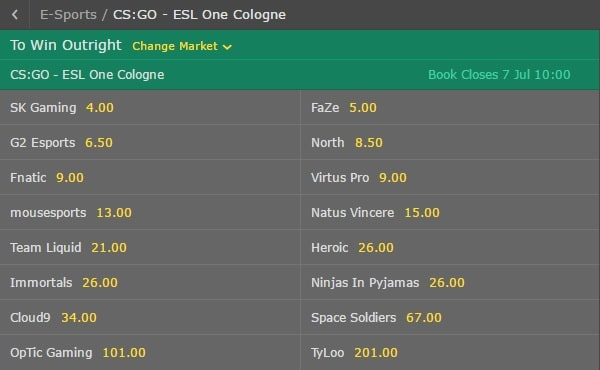 esl one cologne 2017 bet365 odds