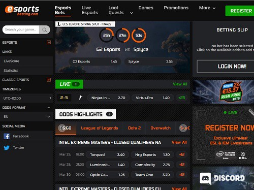 esports betting.com Screenshot